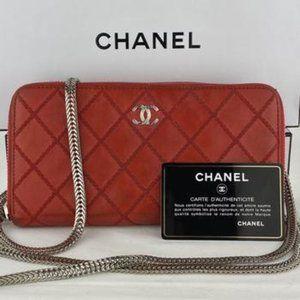 CHANEL Wild Stitch Zip Wallet on Chain